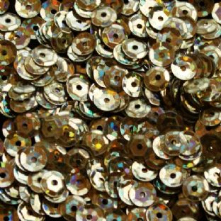 6mm Hologram Gold Semi-Cupped Sequins x 12g